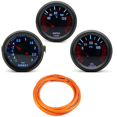 52mm AGG-1 Smoked Turbo Boost 3 Bar + Water Temp + Oil Pressure Gauge Orange HS