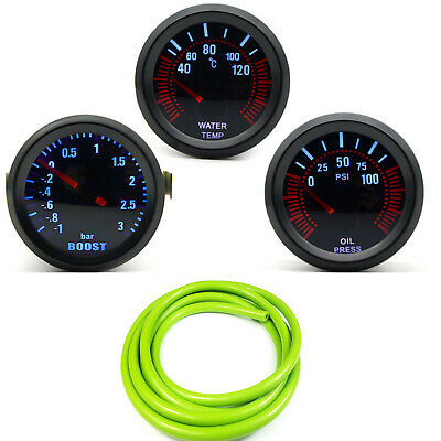 52mm AGG-1 Smoked Turbo Boost 3 Bar + Water Temp + Oil Pressure Gauge Green Hose