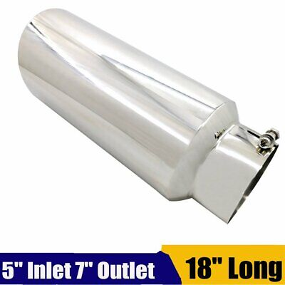"""5/"""" Inlet 7/"""" Outlet 18/"""" Long Stainless Steel Bolt On Diesel Exhaust Tip Tail Pipe"""