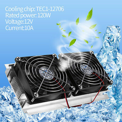 Thermoelectric Peltier Refrigeration Cooling System Kit Cooler Double Fan 120W