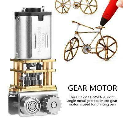 12V 11RPM N20 Right Angle Metal Gearbox Micro Gear Motor for 3D Printing Pen wtt