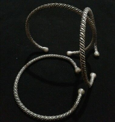 3 Bracelets Extremely Ancient Antique Rare Vintage Viking Silver Artifact