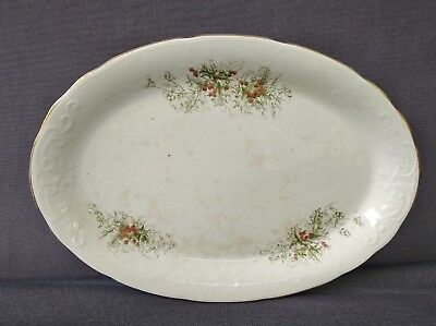 """Antique Laughlin China Semi-Vitreous- Colonial - 13 3/8"""" Platter- Holly Berries"""