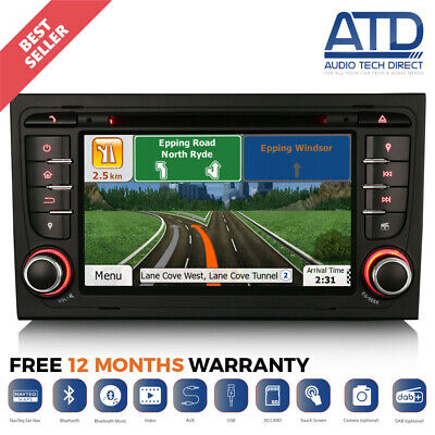"7"" Car Radio Stereo DVD Player GPS SatNav Bluetooth USB For Audi A4 S4 RS4 B6 B7"
