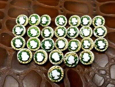 Collection of 27 Antique Victorian Milk Glass Cameo Buttons Gilt & Green Enamel