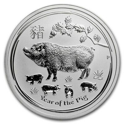 2019 Perth Mint Lunar Series 2 Year of the Pig 1/2oz bu .9999 Fine Silver Coin