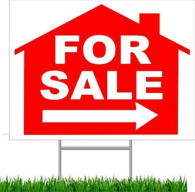 """For Sale Arrow Large Outdoor 24""""x18"""" Land Yard Sign With Wire Stake street sign"""