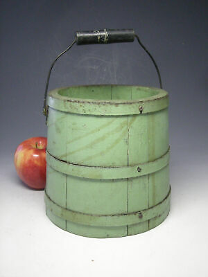 Early Primitive Miniature Staved Bucket with Swing Handle, Late 19th c. AAFA