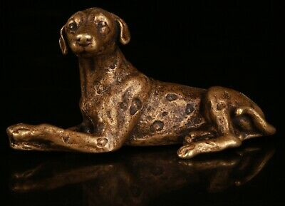 Exquisite Chinese Bronze Hand Carving Dog Statue Collection Gift Decoration