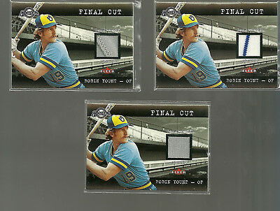 Robin Yount 2001 Fleer Final Cut HOF Game Used Jersey Lot Of 3 Versions