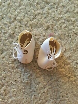 "Doll Shoes 1 Pair Faux Leather Tie Ups Off White Color Short Boots 1 3/4"" Long"