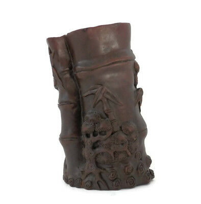 Chinese Brush Pot Hand Carved Wood Antique Scholar's Tools Bamboo