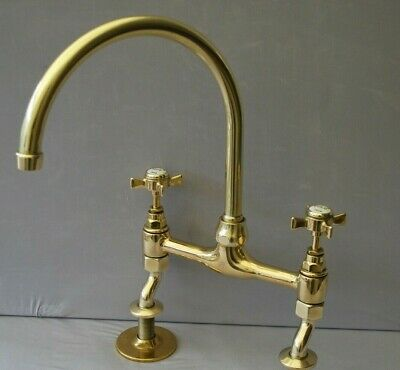 Old Brass Swan Neck  Mixer Taps Ideal Belfast Sink Reclaimed Fully Refurbished