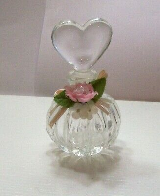 Glass Perfume Bottle Decanter with Heart Shaped Stopper Dauber