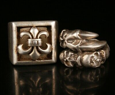 2 China Tibetan Silver Hand Carving Anchor Skull Ring Collection Jewelry