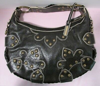 1db75e61a4 ISABELLA FIORE BLACK Leather Drew Oasis Hobo Shoulder Bag with Studs ...