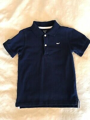 Toddler Boys Polo Shirt - Size 4 - Navy Blue With White Whale!