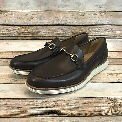 Cole Haan Mens Size 10 M Grand OS Brown Leather Horsebit Slip On Loafers