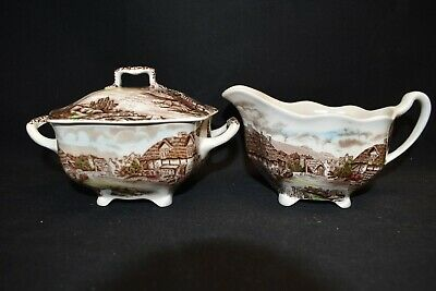 Johnson Brothers Olde English Countryside Creamer & Sugar Bowl With Lid (Faults)
