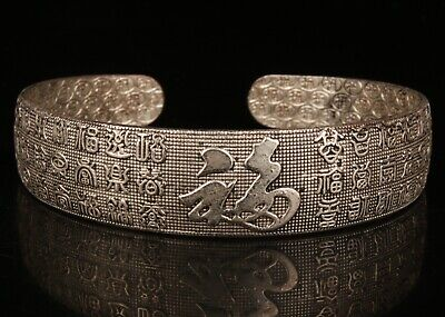 Chinese Silver Hand Carving Buddha Bracelet Gift Jewelry Collection