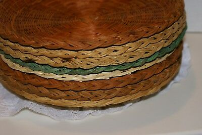 "Set of 8 Mixed 9.5"" Wicker Rattan Paper Plate Holders Picnic Camping BBQ"