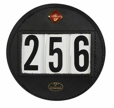 Le Mieux Hamag Leather Competition Bridle Number Holder - Round in Black