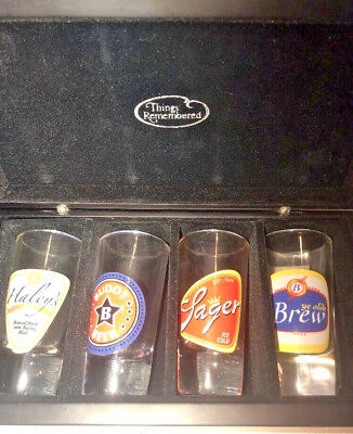 Things Remembered Shot Glasses Set of 4 With Case Beer Theme
