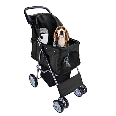 Display4top Pet Travel Stroller Dog Cat Pushchair Pram Jogger Buggy With 4 Wheel
