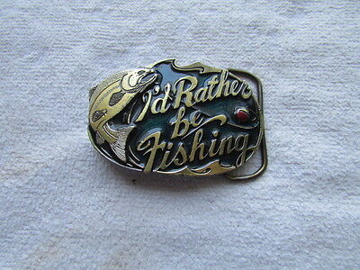 """Vintage """"I'd Rather Be Fishing"""" Belt Buckle By The Great American Buckle Co."""