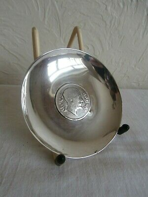 Silver: Dish With Iraq 200 Fils Silver Coin King Faisal I Date 1932 Weight 56Gms