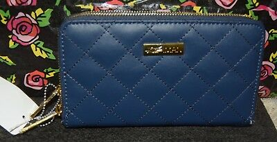 Hsn Joy & Iman Genuine Diamond Quilted Leather Wallet With Rfid Navy Blue New