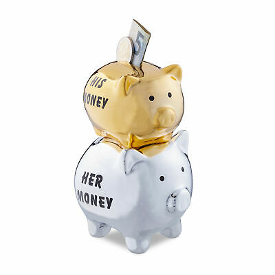 Tirelire Cochon couples mariage His & Her Money 2 cochons argent doré original