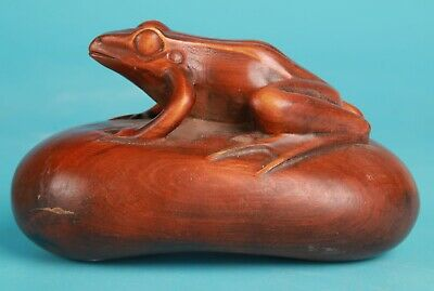 Precious Chinese Boxwood Pure Handmade Carving Frog Animal Statue Old Collection