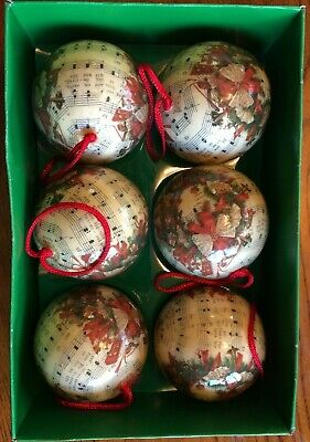 Vintage Christmas Ornaments LOT 6 Paper Mache Ornament Decoupage Carols Wreaths