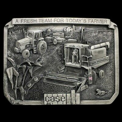 Vtg Case International Heavy Equipment Machinery Farming 1980s Belt Buckle