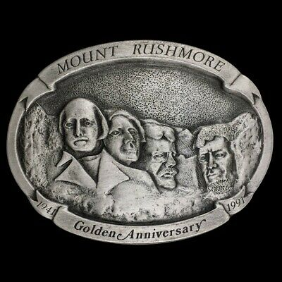 Vtg 90s NOS Mount Rushmore Annivers National Memorial Commemorative Belt Buckle