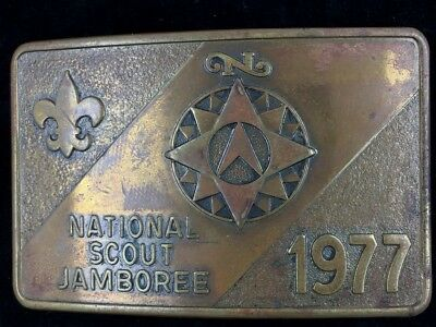 Vtg 1977 BSA National Boy Scout Jamboree America Compass Brass Belt Buckle