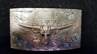 Vintage Beautiful Solid 925. Silver Western Belt Buckle With A Longhorn Design