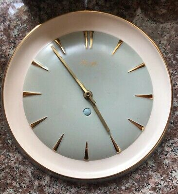 kienzle West German Rare Wall Clock Duckegg Blue And Gold Numerals
