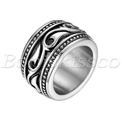 Men's Vintage Heavy Wide Stainless Steel Irish Celtic Wedding Ring Band Size7-13