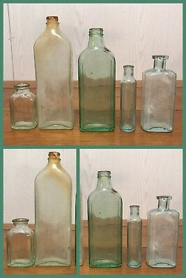 5 Medicine Bottles Green Glass Pharmacy Winslow Syrup, McElrees Cardui Antique