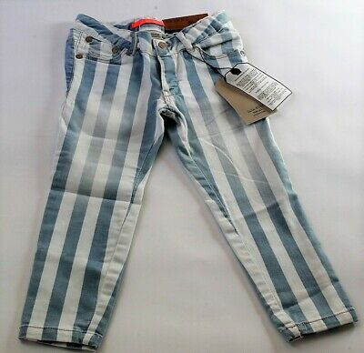Zara Girls Striped Skinny trousers blue Size 3-4 4-5  5-6  6-7 years Kids Summer