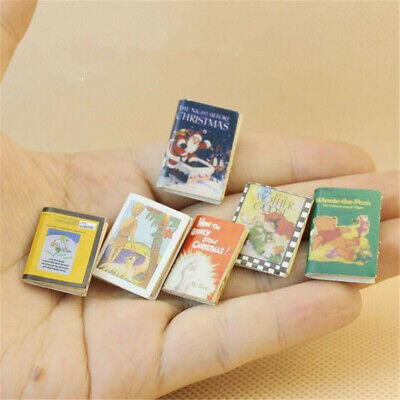 6pcs/Set Wooden Comic Books Miniature Dollhouse Accessories Decor Xmas Gift 1:12