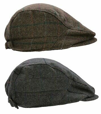 Mens Check Flat Cap Wool Blend Adjustable Gatsby Country Tom Franks Baker Boy