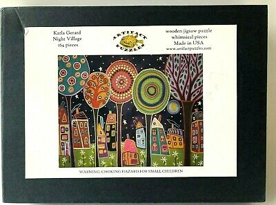 Artifact Puzzles Night Village Wooden Jigsaw Puzzle Karla Gerard Whimsical 164pc