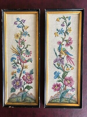 Vintage Pair of Finished Needlepoint Pictures, Birds on Flowering Branch.