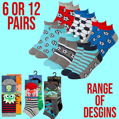 Boys 6 12 Pairs Trainer Liner Ankle Socks Cotton Rich Multipack Colourful Animal
