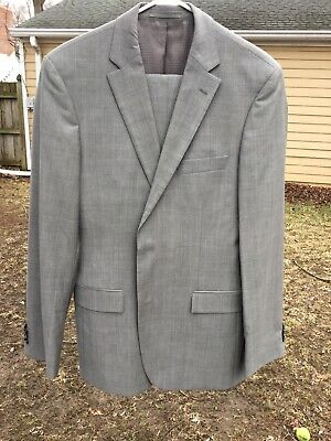 f8a65bff1 Hugo Boss Mens Suit 40L Pasini Movie 2 Solid Gray 100% Virgin Wool Super 120