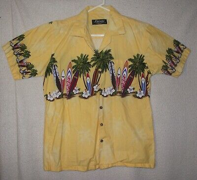 81d129c9 Favant Mens Size L Yellow Hawaiian Short Sleeve Button Up Shirt Surfboards  EUC