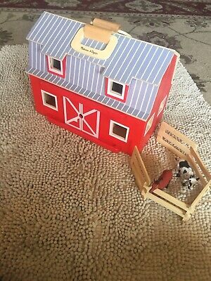 Melissa Doug Fold Go Wooden Barn W Fence And Horse And Cow Good Condition